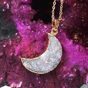 Gold Crescent Moon Druzy Pendant Geode Necklace